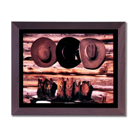 Old Cowboy Boots And Hats Western Rodeo Wall Picture Cherry Framed Art Print - Old Western Decor