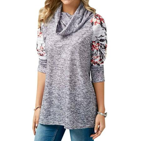 Nlife Women Long Sleeve Cowl Neck Floral Printed Sweatshirt