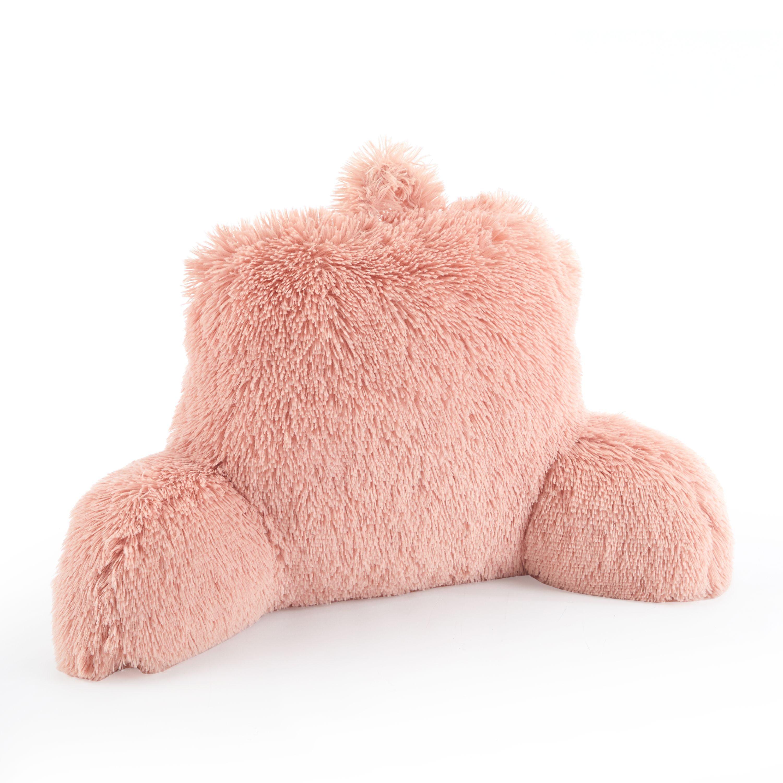 Picture of: Mainstays Long Hair Faux Fur Backrest Pillow Blush Bed Rest Walmart Com Walmart Com
