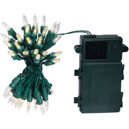 holiday time battery operated led incandescent style 7 function christmas lights with timer green