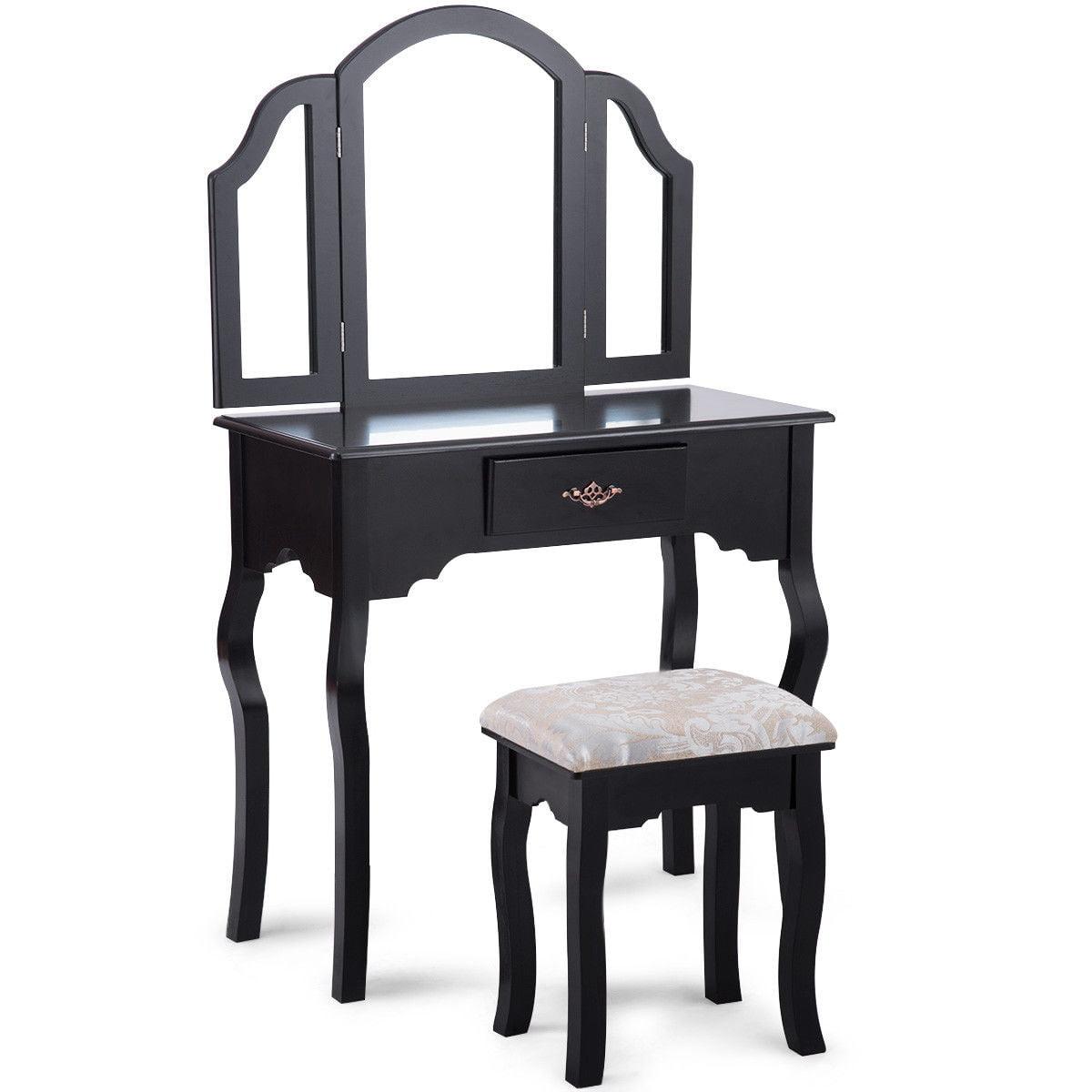 Costway Vanity Table Set Makeup Dressing Table Cushioned Stool Mirror Wood Furniture