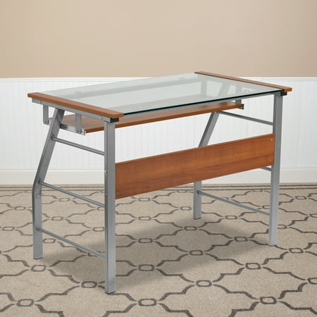 Flash Furniture Glass Computer Desk, Flash Furniture Black Glass Computer Desk With 3 Drawer Pedestal