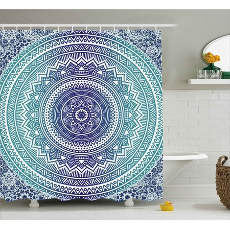 Navy And Teal Shower Curtain  Ombre Mandala Old Indian Art With Mehndi Style Effects Kitsch Boho Print  Fabric Bathroom Set With Hooks  69W X 70L Inches  Dark Blue White  By Ambesonne