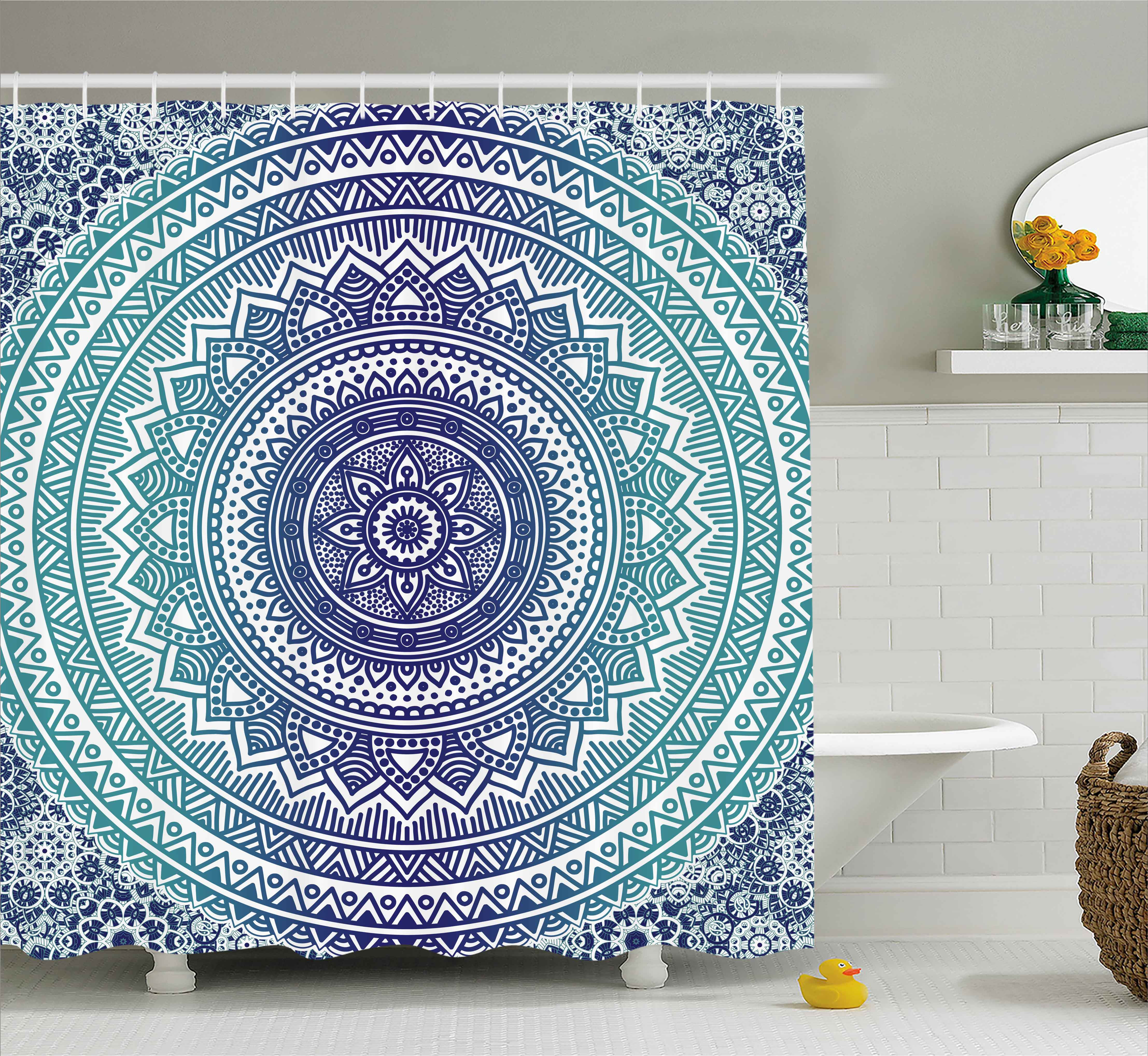 navy and teal shower curtain ombre mandala old indian art with mehndi style effects kitsch