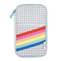 Yoobi Pencil Case, Grid Rainbow Stripe