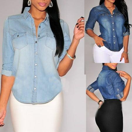 US Womens Retro Blue Jean Soft Denim Long Sleeve Casual Shirt Tops Blouse Jacket