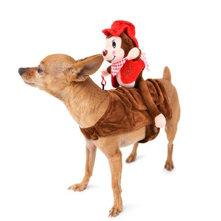Dog Costume Adorable Pet Halloween Costume Soft Dogs Clothes with Self-adhesive Strap and Reserved Hole for Dog Leash, Monkey Rider Style, Suitable for Small and Medium-sized Dogs,Petacc (Dog Football Costumes Halloween)