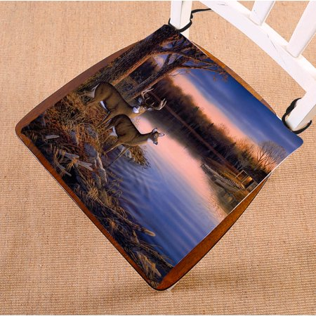 Image of GCKG River Edge Deers Chair Cushion,River Edge Deers Chair Pad Seat Cushion Chair Cushion Floor Cushion with Breathable Memory Inner Cushion and Ties Two Sides Printing 20x20 inch
