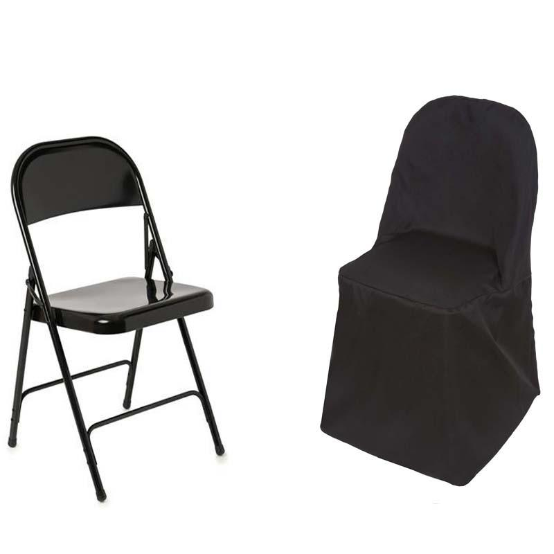 BLACK ROUND OR SQUARE TOP IVORY POLYESTER CHAIR COVERS HEAVY DUTY IN WHITE