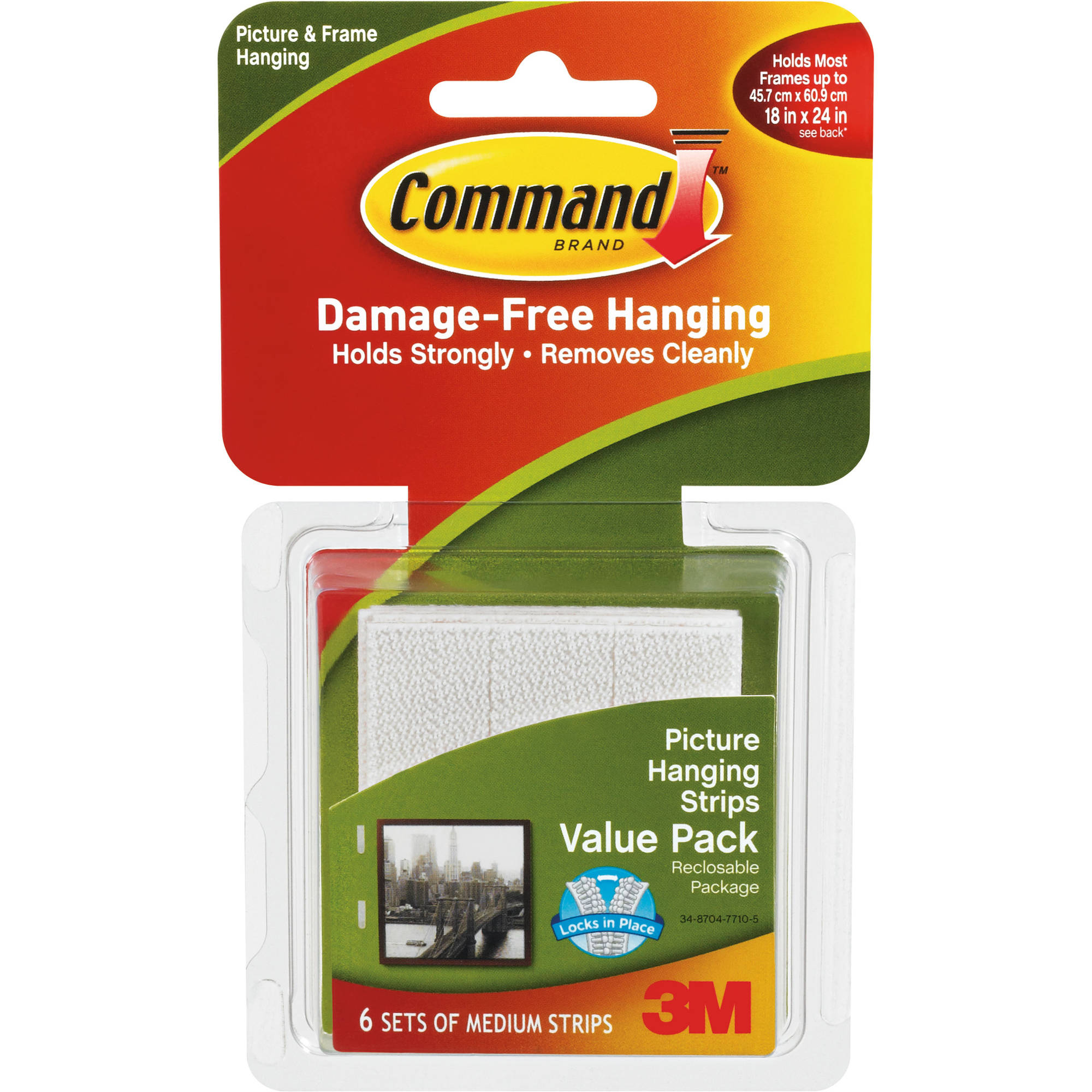 Command Medium Picture Hanging Strips, White, 6 Sets of Strips, 17204ALT