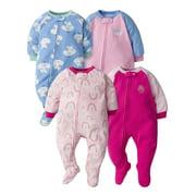 Gerber Baby Girls Microfleece Blanket Sleeper Pajamas, 4-Pack