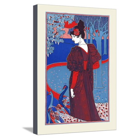 A Woman Stands Looking At Two Peacocks Stretched Canvas Print Wall Art By Louis