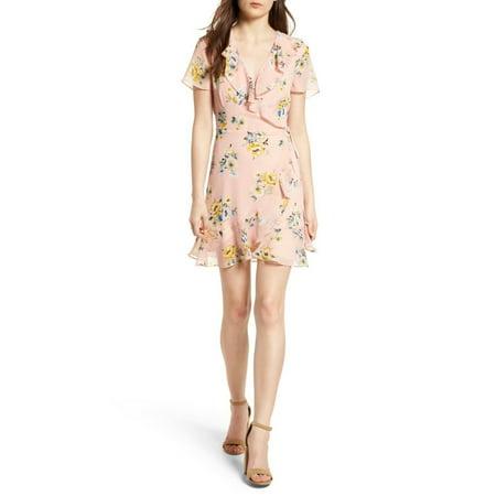 Womens Medium Ruffle Floral Short Sleeve Wrap Dress M