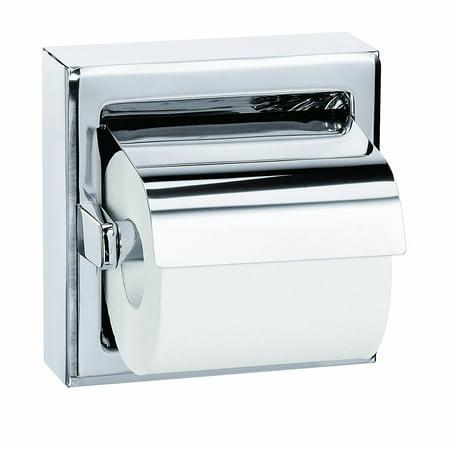 Bradley 5106-000000 Stainless Steel Surface Mounted Hinged Hood Single Roll Toilet Tissue Dispenser, 6-3/8' Width x 6-3/8' - Bradley Surface Mount Toilet