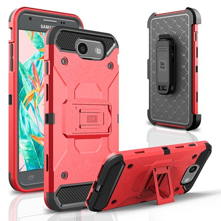 online store 4082c 0f38e Samsung Galaxy J3 Emerge Case, ZV Tough Armor Cover w/ [Kickstand] and  Holster Clip [Shockproof Dual Layer Case]- Galaxy J3 Prime / Amp Prime 2