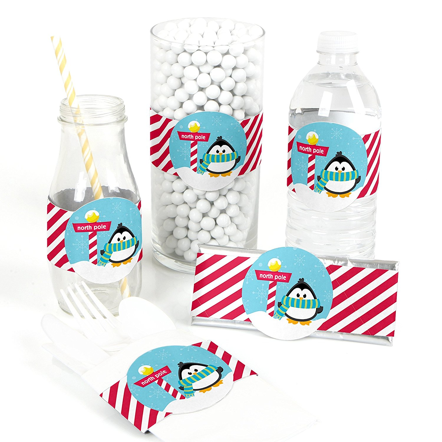 Holly Jolly Penguin - DIY Party Supplies - Holiday & Christmas Party DIY Wrapper Favors & Decorations - Set of 15