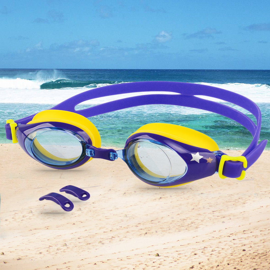 Kids Swimming Goggles UV Protection Anti-fog Lens Soft Silicone Frame Color 3 by