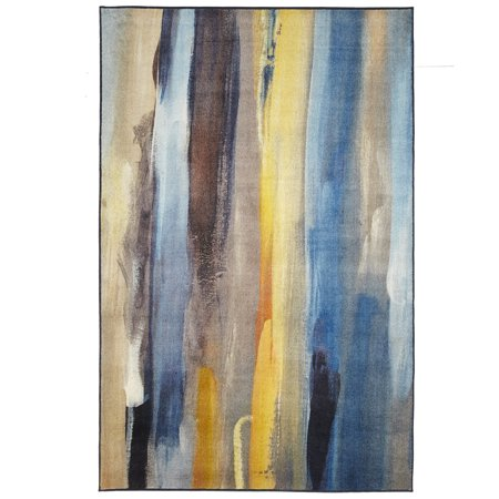Mohawk Prismatic Area Rugs - Z0379 A445 Contemporary Peru / Steel Blue Strokes Lines Painted Banded Rug](Mohawk Blue)