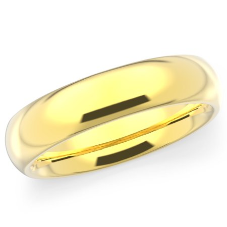 14K Solid Yellow Gold 5mm Plain Men's and Women's Wedding Band Ring