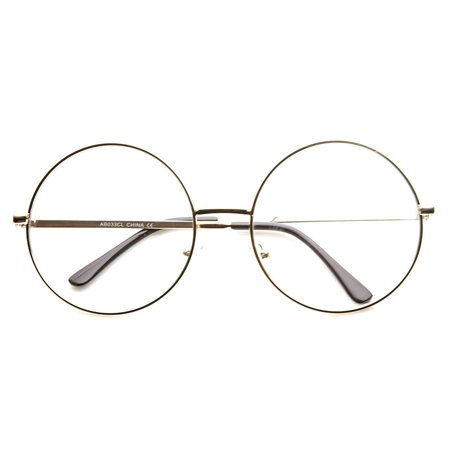 Large Oversized Metal Frame Clear Lens Round Circle Eye (Round Eye Frames)