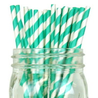 Just Artifacts Decorative Striped Paper Straws (100pcs, Striped, Red)