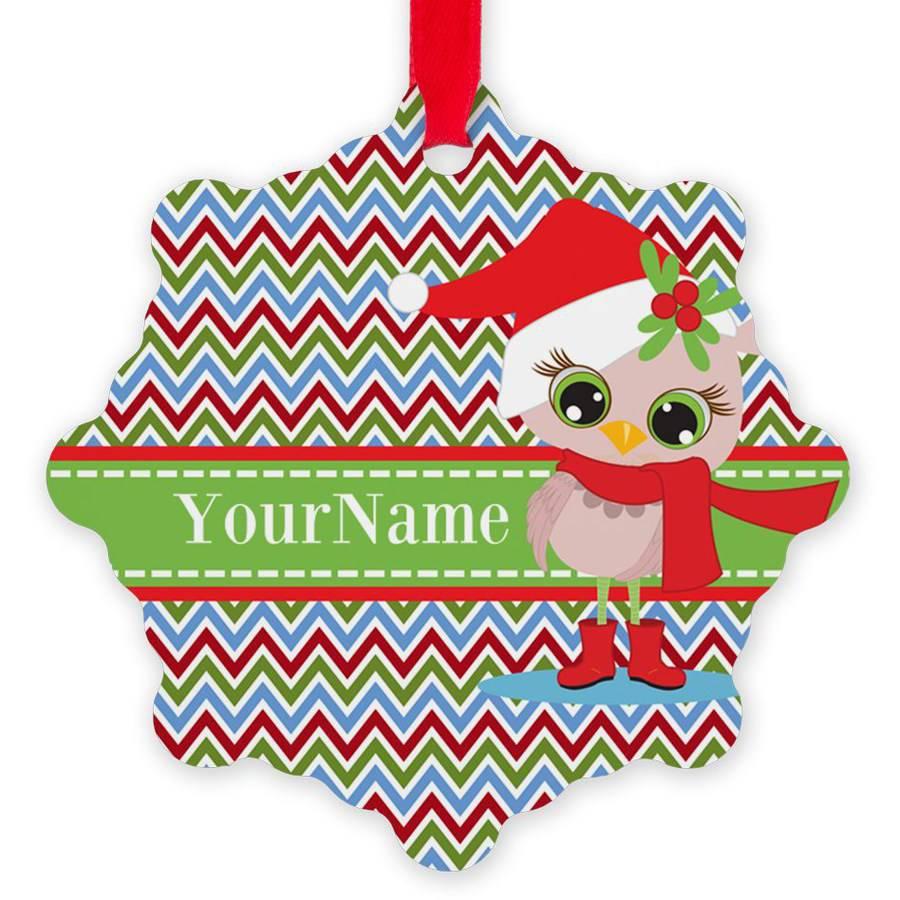 CafePress Personalized Chevron Christmas Owl Personali Snowflake Ornament