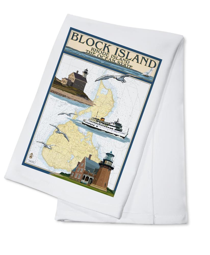 Block Island, Rhode Island Nautical Chart w  Ferry Lantern Press Poster (100% Cotton... by Lantern Press