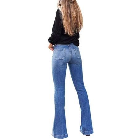 Plus Size Denim Jeans for Women High Waist Flare Pants Stretchy Trouser Pockets Casual Slim Fit Pencil Pants Skinny Pant Denim Blue S = US 4