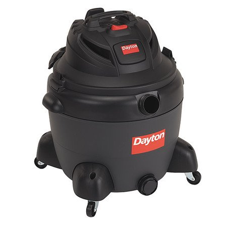 DAYTON Wet/Dry Vacuum, Contractor, 16-Gal Plastic Tank, 6.5 Peak HP 3VE21