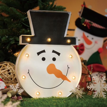 christmas festival indoor 9 led marquee snowman light decor - Indoor Christmas Decorations Walmart