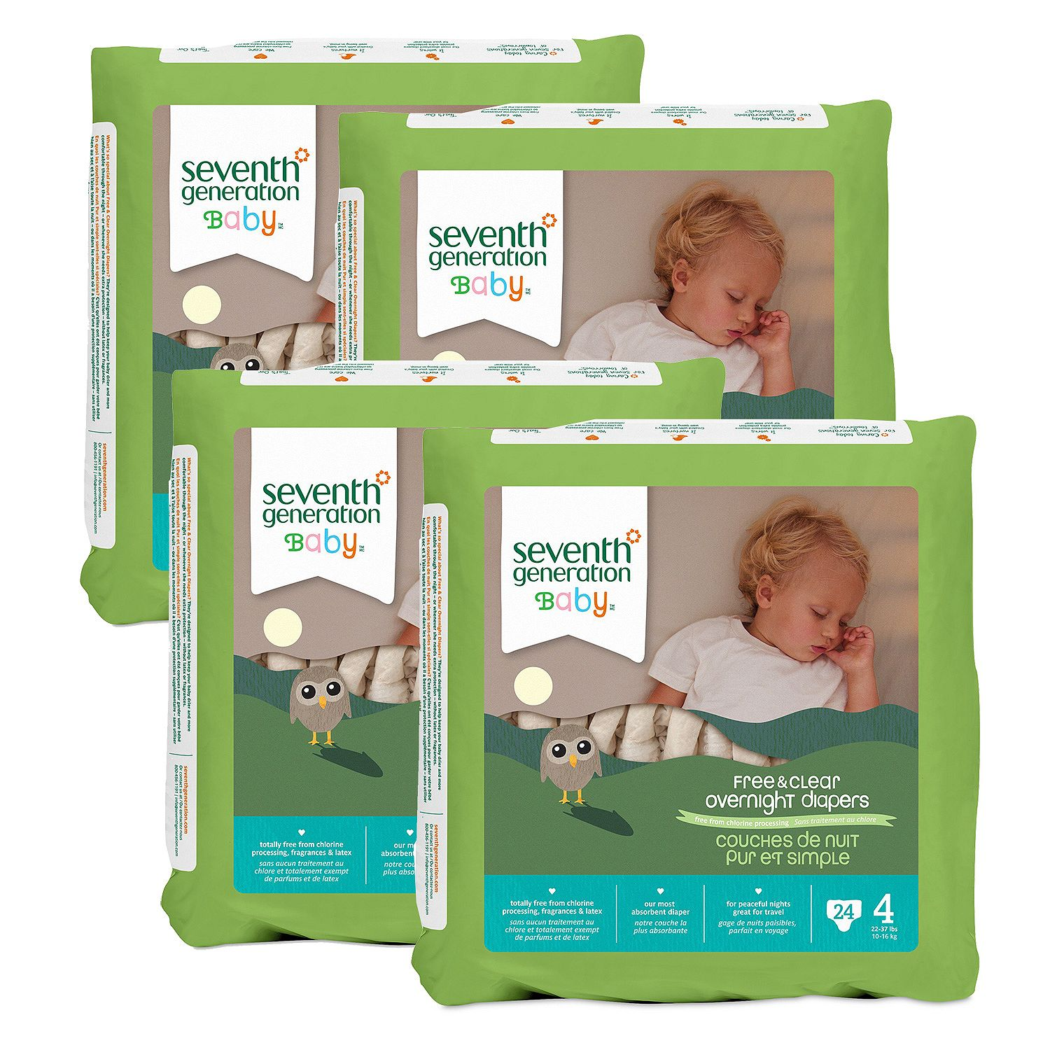 Seventh Generation Free & Clear Overnight Diapers Size Stage 4 - 24 ct. - Bulk Qty, Free Shipping - Comfortable, Soft, No leaking & Good nite Diapers