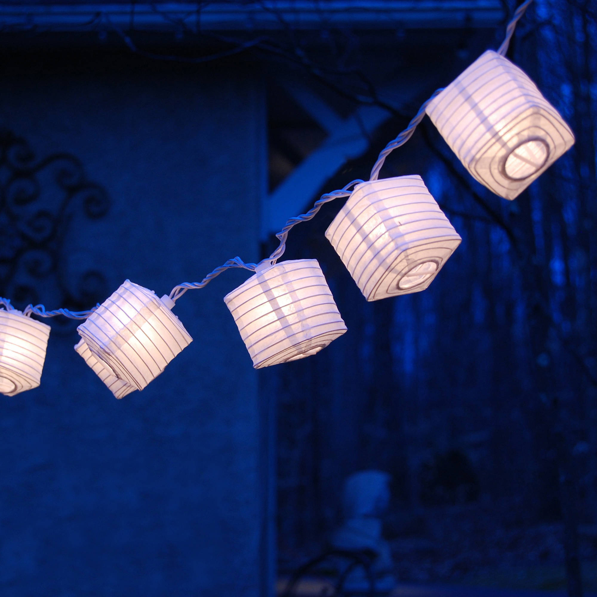 "Lumabase Electric String Lights with 2.5"" Square Nylon Lanterns, White, Set of 10"