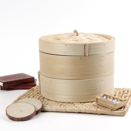2 Tier 8'' Bamboo Steamer Basket Chinese Dim Sum Rice Vegetables Chicken Fish Cooker Set with Lid ()