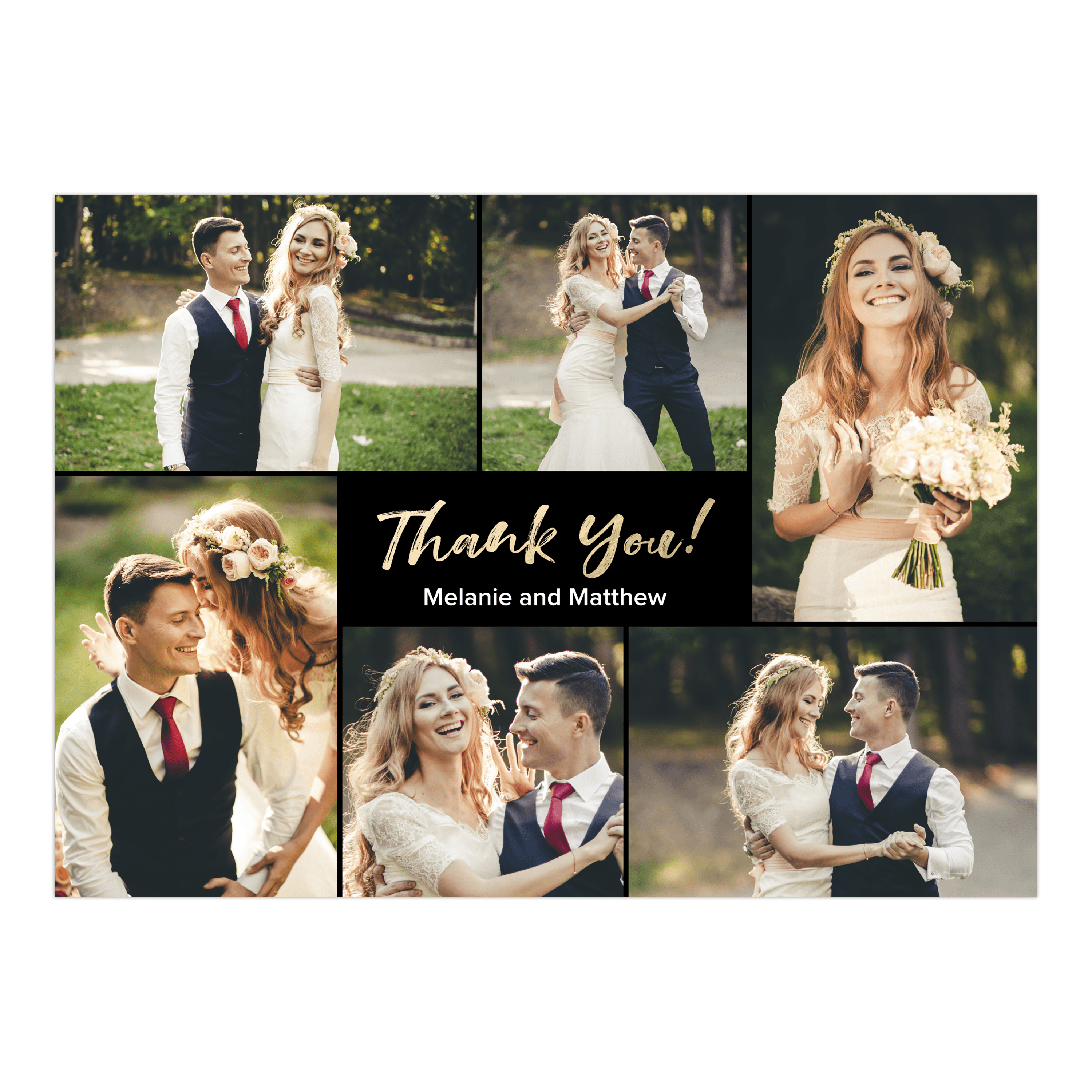 Personalized Wedding Thank You Card - Classic Love & Thanks - 5 x 7 Flat