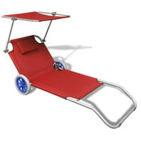 WALFRONT Folding Sun Lounger with Canopy and Wheels Aluminium Red