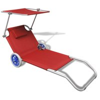 OTVIAP Folding Sun Lounger with Canopy and Wheels Aluminium Red