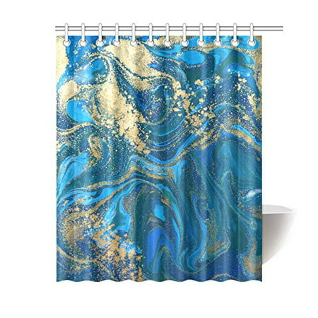 MKHERT Abstract Blue and Gold Liquid Marble Stone Decor Waterproof Polyester Fabric Shower Curtain Bathroom Sets 60x72 inch ()