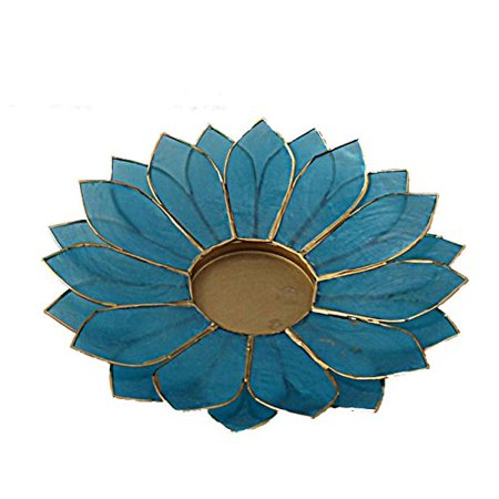 Lotus Candle Holder Capiz Shell Flat 2 Layer Decorating Accent Home Decor Gift Ideas, Aqua Marine Teal Blue