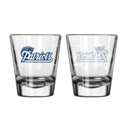 New England Patriots Shot Glass 2 Pack Satin Etch by Shot Glasses
