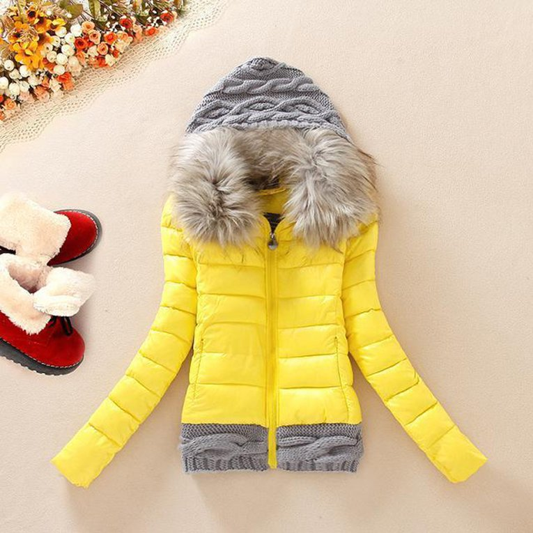 Yellow Winter Fashion Coat Women'S Long Hoodies Knitted Wool Hat Thick Padded Coat Down Jacket