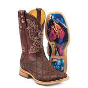 Tin Haul Women's Boots A Cute Angle with Colorful Horse Sole, Brown