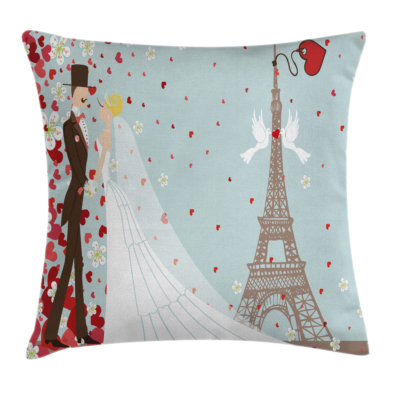 Paris Eiffel Tower Pillow 16 X 16: Wedding Decorations Throw Pillow Cushion Cover, French