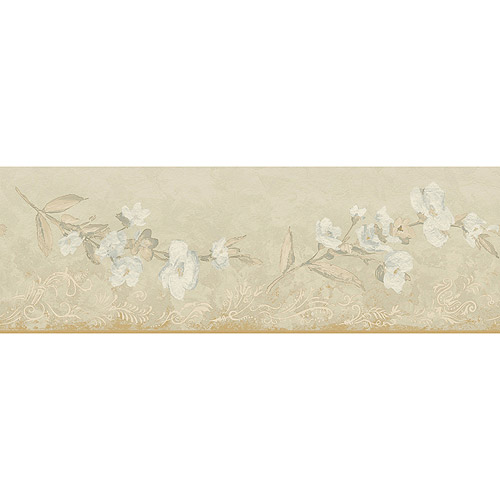 Blue Mountain Gilded Blossom Wallpaper Border, Gold and Silver