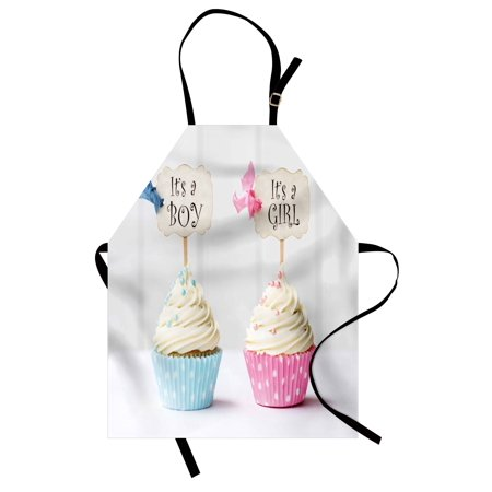 Gender Reveal Apron Boy and Girl with Cupcakes Yummy Chocolate Celebration Theme, Unisex Kitchen Bib Apron with Adjustable Neck for Cooking Baking Gardening, Pale Blue and Pink Cream, by Ambesonne