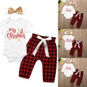 SUNSIOM New My First Christmas Baby Boy Girl Romper Bodysuit Pants Clothes Outfit 0-18M