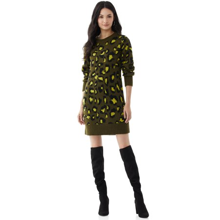 Scoop Women's Leopard Print Sweater Dress