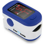 Zacurate 500BL Sporting/Aviation Fingertip Pulse Oximeter Blood Oxygen Saturation Monitor with batteries and lanyard included (Navy Blue)