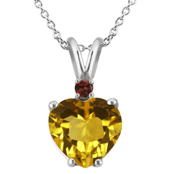 14K White Gold Heart Pendant set with 1.64 Ct Yellow Citrine & Red Garnet by