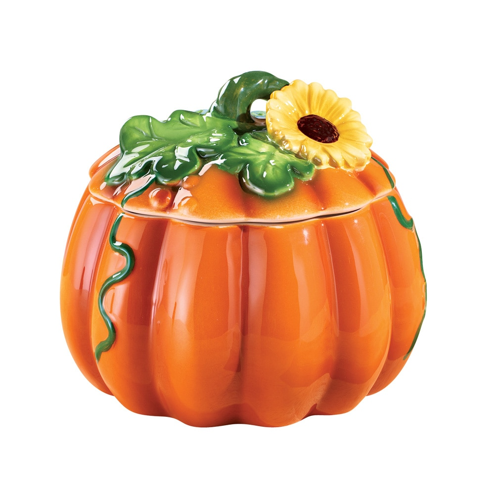Click here to buy Harvest Pumpkin and Sunflower Cookie Jar Hand Painted by Collections Etc.