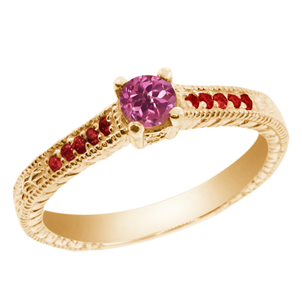 0.32 Ct Round Pink Tourmaline Red Garnet 18K Yellow Gold Engagement Ring by
